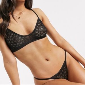 Free People Black Kelly Bra Underwear 2 piece set